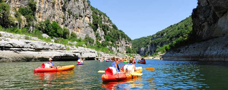 Canoeing on the gorges of Ardeche